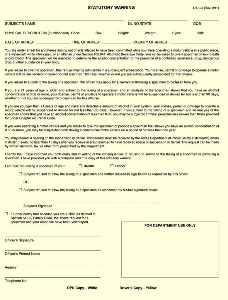 DUI Defense. DPS DIC-24 Form.