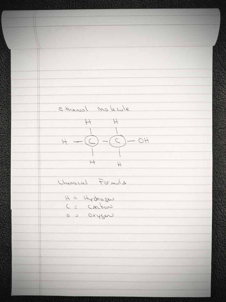 Hand drawing of Ethanol Molecule. San Antonio DWI Defense.